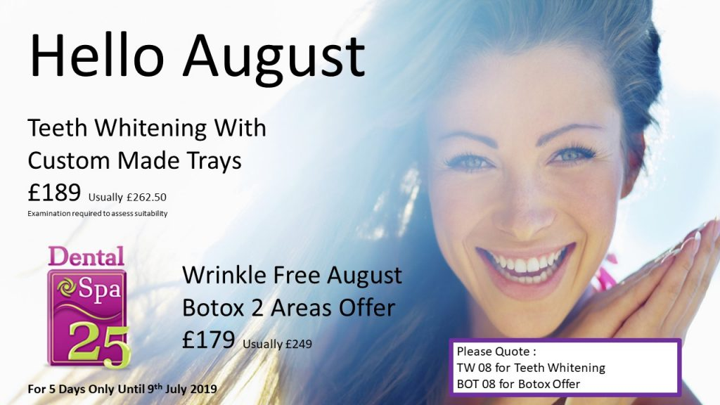 Teeth Whitening With Custom Made Trays Now £189 (Usually £262.50)   Anti-Wrinkle Injections 2 Areas Now £179 (Usually £249)