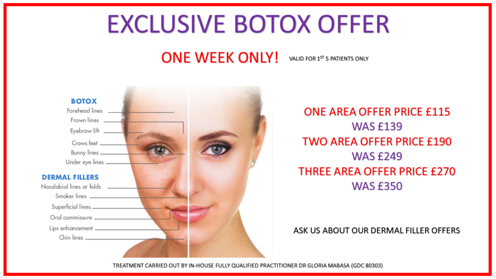 Anti-Wrinkle Injections - One Area £115 Was £139, Two Areas £190 Was £249, Three Areas £270 Was £350 One Week Only Offer